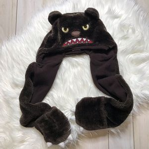 Capelli Angry Bear Fuzzy Hat Attached Mittens